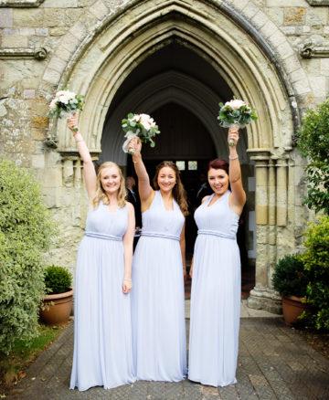 CEREMONY AT ST JOHNS CHURCH - SANDOWN   BRIDESMAIDS DRESSES - LIPSY LONDON   FLOWERS - ALL SEASONS